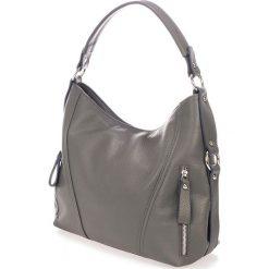 Torebki klasyczne damskie: Skórzana torebka w kolorze szarym – 40 x 28 x 15 cm