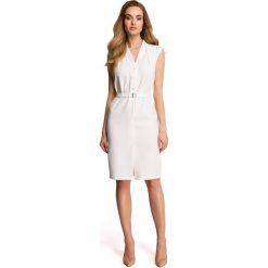 LINDI Sukienka szmizjerka bez rękawów - ecru. Szare sukienki koktajlowe marki Stylove, do pracy, na lato, s, ze stójką, bez rękawów, dopasowane. Za 169,90 zł.