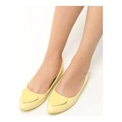 Baleriny damskie lakierowane: Żółte Balerinki Dalia
