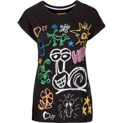 T-shirt bonprix czarny z nadrukiem. Czarne t-shirty damskie bonprix, z nadrukiem. Za 29,99 zł.