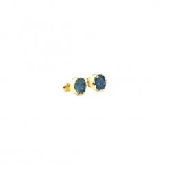 Kolczyki Druza Agatu Lazurowa złoto. Niebieskie kolczyki damskie Brazi druse jewelry, z agatem, pozłacane, na sztyftcie. Za 170,00 zł.