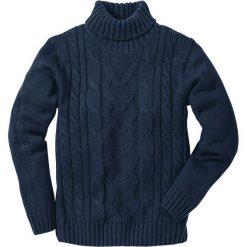 Golfy męskie: Sweter z golfem bonprix ciemnoniebieski