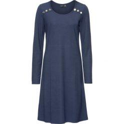 Sukienka bonprix ciemnoniebieski. Niebieskie sukienki na komunię marki bonprix, z materiału, z okrągłym kołnierzem. Za 44,99 zł.