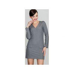 Sukienka K373 Szary. Czarne sukienki na komunię marki bonprix, do pracy, w paski, biznesowe, moda ciążowa. Za 149,00 zł.