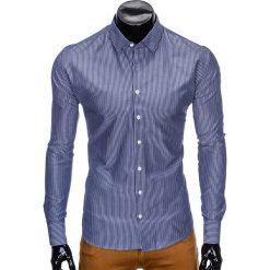 KOSZULA MĘSKA ELEGANCKA Z DŁUGIM RĘKAWEM K428 - CIEMNOGRANATOWA. Brązowe koszule męskie marki Ombre Clothing, m, z aplikacjami, z kontrastowym kołnierzykiem, z długim rękawem. Za 49,00 zł.