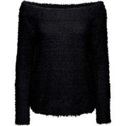 Sweter dzianinowy bonprix czarny. Niebieskie swetry klasyczne damskie marki bonprix, na lato, w kwiaty, z asymetrycznym kołnierzem. Za 89,99 zł.