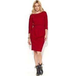 Sukienki: Czerwona Sukienka Bombka z Kieszeniami