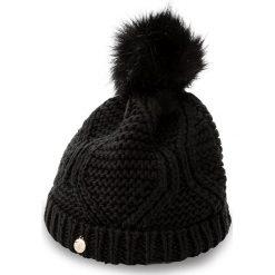 Czapka GUESS - Not Coordinated Wool AW6801 WOL01 M BLA. Czarne czapki zimowe damskie marki Guess, z aplikacjami, z materiału. Za 169,00 zł.