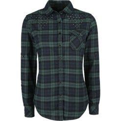 Bluzki asymetryczne: Black Premium by EMP Checkshirt Bluzka damska czarny/zielony