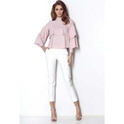 Różowa Ultrakobieca Bluzka Koszulowa z Falbankami. Czerwone bluzki koszulowe marki Molly.pl, l, z jeansu, biznesowe, z długim rękawem. Za 179,90 zł.