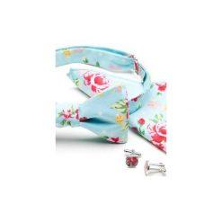 Komplet Mucha wiązana ROSES kwiaty +poszetka +spinki do mankietów. Niebieskie muchy męskie HisOutfit, w kwiaty, z materiału, wizytowe. Za 149,00 zł.