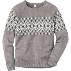 Sweter Regular Fit bonprix szary melanż. Szare swetry klasyczne męskie marki bonprix, l, melanż. Za 89,99 zł.