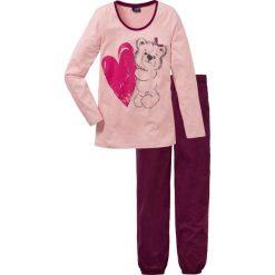 Piżamy damskie: Piżama bonprix stary róż z nadrukiem