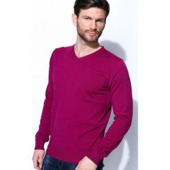 Swetry klasyczne męskie: Fioletowy Sweter Real Life