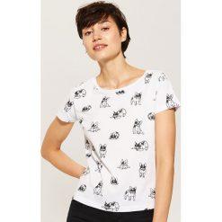T-shirt w buldogi - Biały. Niebieskie t-shirty damskie marki House, m. Za 19,99 zł.