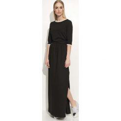 Czarna Sukienka Maxi z Lamówkami. Szare długie sukienki marki bonprix, melanż, z dresówki, z kapturem, z długim rękawem. Za 98,90 zł.