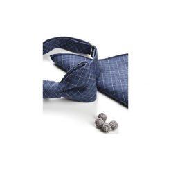Komplet Mucha wiązana TARIFA+poszetka +spinki do mankietów. Niebieskie muchy męskie HisOutfit, z materiału, wizytowe. Za 149,00 zł.