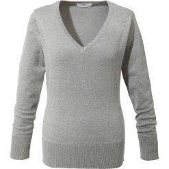 Sweter z dekoltem w serek bonprix jasnoszary melanż. Szare swetry klasyczne damskie bonprix, z dzianiny, z dekoltem w serek. Za 59,99 zł.