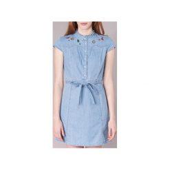 Sukienki krótkie Naf Naf  LUTA. Niebieskie sukienki mini marki NAF NAF, z krótkim rękawem. Za 319,20 zł.