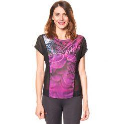 Koszulka funkcyjna w kolorze różowo-czarnym. Czarne bluzki sportowe damskie Desigual Sport, s, z nadrukiem, z materiału. W wyprzedaży za 130,95 zł.