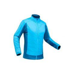 Kurtka polarowa hybrydowa turystyczna SH900 X-Warm męska. Niebieskie kurtki męskie marki QUECHUA, m, z elastanu. Za 169,99 zł.