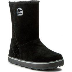 Buty SOREL - Glacy NL 1975-011 Black. Czarne buty zimowe damskie Sorel, z gumy, przed kolano, na wysokim obcasie. W wyprzedaży za 329,00 zł.