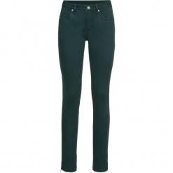 Spodnie ze stretchem SKINNY bonprix głęboki zielony. Zielone rurki damskie bonprix. Za 54,99 zł.