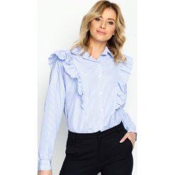 Niebieska Koszula Double Frill. Koszule w niebieskie paski Born2be, m, klasyczne, z falbankami, z długim rękawem. Za 54,99 zł.