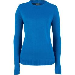 Sweter bonprix lazurowy. Niebieskie swetry klasyczne damskie marki bonprix, z materiału, z okrągłym kołnierzem. Za 54,99 zł.