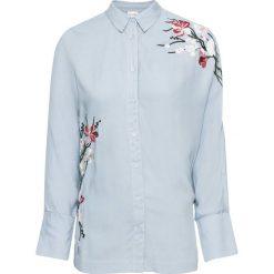 Bluzka z haftem bonprix jasnoniebieski. Niebieskie bluzki z odkrytymi ramionami marki bonprix, z haftami. Za 79,99 zł.
