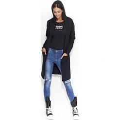 Czarna Bluza Długa bez Zapięcia z Kapturem. Czarne bluzy z kapturem damskie marki bonprix, z dresówki, z kapturem, z długim rękawem, długie, maxi. Za 109,90 zł.
