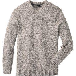 Sweter z okrągłym dekoltem Regular Fit bonprix szary melanż. Szare swetry klasyczne męskie bonprix, l, melanż, z dzianiny, z okrągłym kołnierzem. Za 74,99 zł.