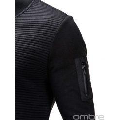Bluzy męskie: BLUZA MĘSKA ROZPINANA BEZ KAPTURA B551 - CZARNA