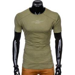 T-SHIRT MĘSKI Z NADRUKIEM S950 - KHAKI. Czarne t-shirty męskie z nadrukiem marki Ombre Clothing, m, z bawełny, z kapturem. Za 29,00 zł.
