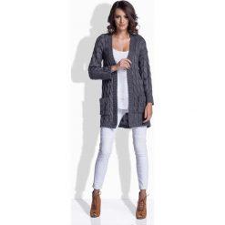 Odzież damska: Grafitowy Sweter Długi bez Zapięcia w Warkocze