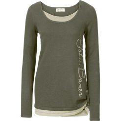 Sweter 2 w 1, długi rękaw bonprix ciemnooliwkowy. Brązowe swetry klasyczne damskie marki DOMYOS, xs, z bawełny. Za 84,99 zł.