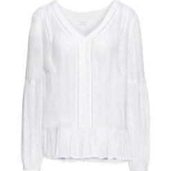 Bluzki damskie: Bluzka z falbanami bonprix biały