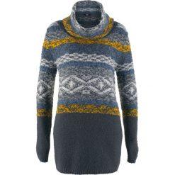 Swetry oversize damskie: Sweter oversize z golfem, długi rękaw bonprix nocny niebieski wzorzysty