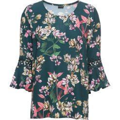 Bluzka z koronkową wstawką bonprix zielony w kwiaty. Zielone bluzki z odkrytymi ramionami bonprix, w kwiaty, z koronki. Za 59,99 zł.