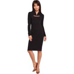ERIN Sukienka ołówkowa z bolerkiem - czarna. Czarne sukienki balowe marki BE, l, z dzianiny, z golfem, z długim rękawem, mini, ołówkowe. Za 136,99 zł.
