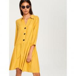 Sukienka mini - Żółty. Białe sukienki mini marki Reserved, l, z dzianiny. Za 69,99 zł.
