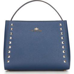 Torebka damska 87-4-487-N. Niebieskie kuferki damskie Wittchen, w paski, małe. Za 299,00 zł.