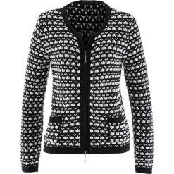 Swetry rozpinane damskie: Sweter rozpinany bonprix czarno-ecru wzorzysty