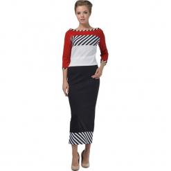 Zestaw w kolorze czarno-białym - bluzka, spódnica. Białe długie spódnice Lila Kass, xxs, w paski, proste. W wyprzedaży za 219,95 zł.