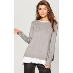 Sweter z bluzką - Szary. Szare swetry klasyczne damskie marki Mohito, l. W wyprzedaży za 79,99 zł.