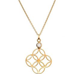 Naszyjniki damskie: Złoty naszyjnik z cyrkonią – (D)42 cm