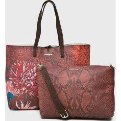 Desigual - Torebka dwustronna. Brązowe torebki klasyczne damskie Desigual, w paski, z materiału, duże. Za 349,90 zł.