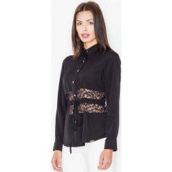 Bluzki asymetryczne: Czarna Koszulowa Bluzka z Koronkowym Panelem