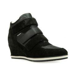 Botki damskie lity: Skórzane sneakersy w kolorze czarnym