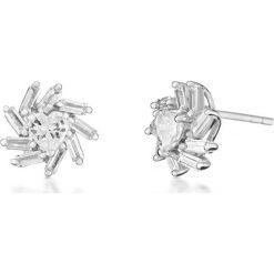 Biżuteria i zegarki damskie: Zjawiskowe Srebrne Kolczyki - srebro 925, Cyrkonia